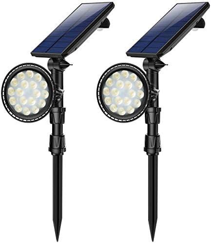2 PCS Motion Sensor Solar Spot Lights Outdoor,18 LED Landscape Lamps Waterproof Flood Lamp