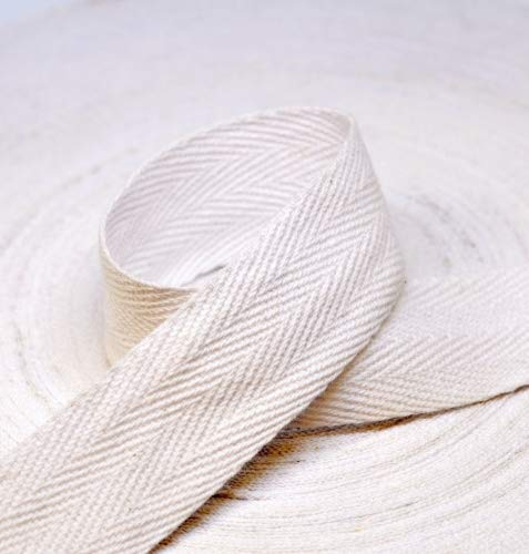 Anrox Supply Co.Twill Tape 3/4'' to 2'' Size 100% Cotton Black Natural White 50 Yards (2'', White)