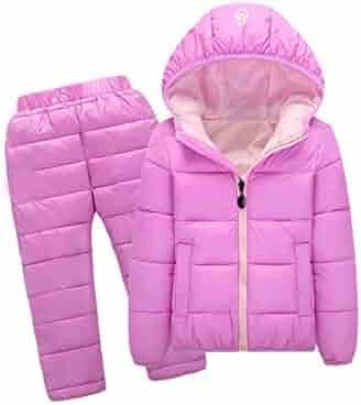 b29b240da Kids Snowsuits Autumn Winter Down Cotton Coats Jackets Pant Baby Girls Boys  Clothes Set Children Hooded