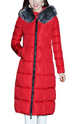 chouyatou Women's Winter Windproof Padded Long Down Alternative Coat Faux Fur Hood (Large, Red)