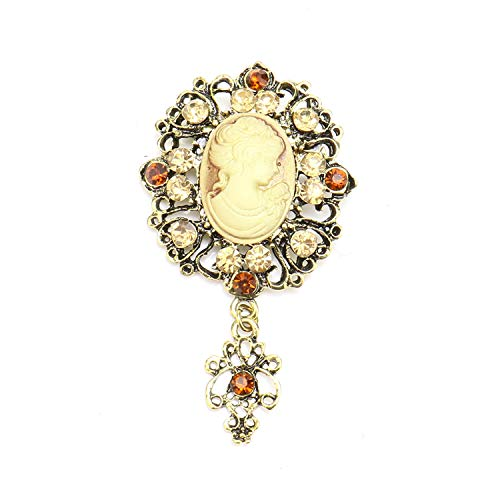JETEHO Vintage Style Cameo Victorian Crystal Cameo Lady Maiden Flower Brooch, Wedding Party Women Pendant Brooch Pin Jewelry