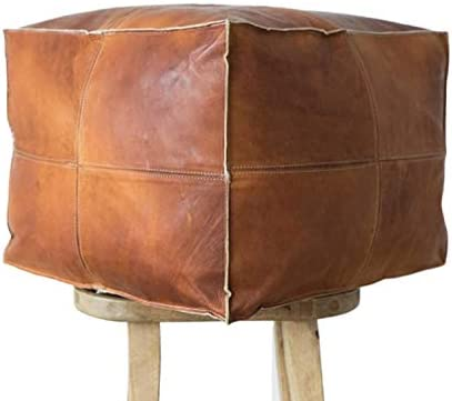 Leather Square Poufs Handmade