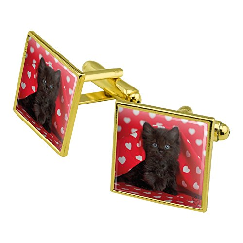 - Graphics and More Black Ragdoll Tiffany Cat Kitten Hearts Love Square Cufflink Set Gold Color