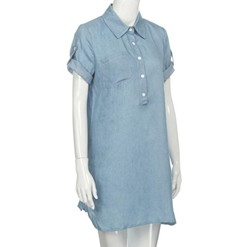 XILALU Women Collar Button Front Short Sleeve Solid Denim Dress Turn Down A-Line Casual Mini Dress at Amazon Womens Clothing store: