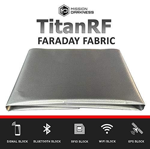 TitanRF Faraday Fabric // EMI Shielding, RFID Shielding, Cell Phone Block, WiFi Block, Bluetooth Block. MILITARY GRADE SHIELDING FABRIC (44' x 36'/11sq. ft./1.22 Sq. Yds.) + 12'L CONDUCTIVE ADHESIVE MOS Equipment MDFF-TRF