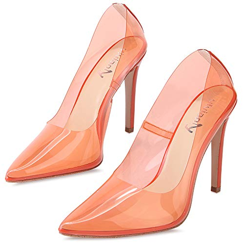 - vivianly Fashion High Heel Pointed Toe Clear Pumps Heels Slip on Dress Shoes for Women Orange