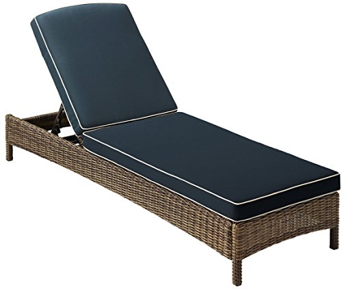 Crosley Furniture KO70070WB-NV Bradenton Outdoor Wicker Chaise Lounge with Navy Cushions