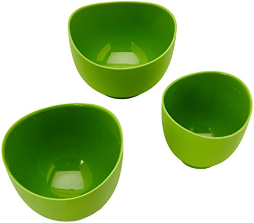 - iSi Basics Flexible Silicone Mixing Bowls, Set of 3, 1 QT, 1.5 QT, 2 QT, Green (B25104)