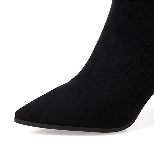 Nio Sju Mocka Läder Womens Pekade Tå Chunky Häl Enkel Komfort Handgjorda Boots Svart