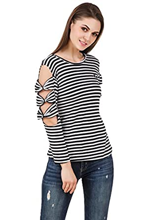776aec7dccb7f Brand me Up women striped cold shoulder bow sleeve party wear top - S size (