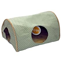 K&H Manufacturing Kitty Camper Indoor Cat Bed, 14-Inch by 20-Inch, Sage Polka Dot
