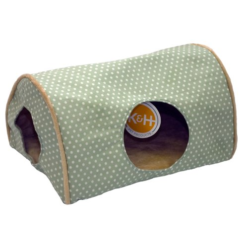 KandH Kitty Camper Indoor Cat Bed, 14-Inch by 20-Inch, Sage Polka Dot, My Pet Supplies