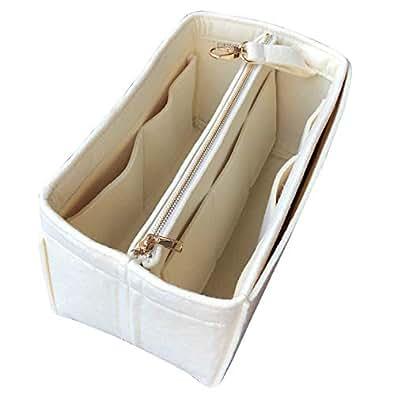 JennyKrafts Purse Insert (3mm Felt, Detachable Pouch w/Metal Gold Zip), Tote Bag Organizer Pockets Beige Size: [LV] Flandrin-1-Side