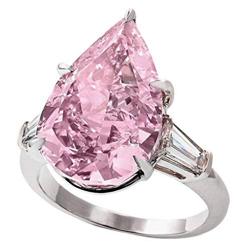 Kintaz Women's Engagement Wedding Ring Water Drop Pointed Pink Diamond Lady Jewelry (7, Pink)