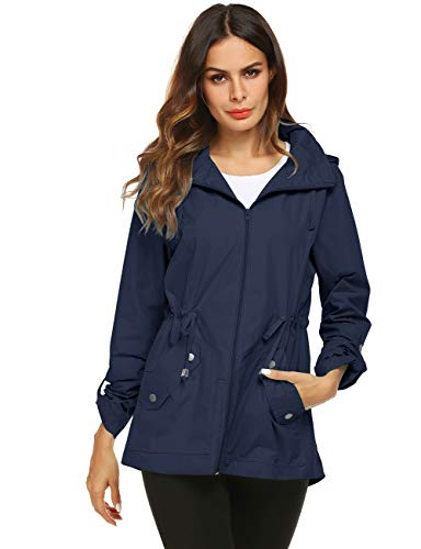 - Avoogue Lightweight Rain Jacket Women Belted Spring Coat Navy Blue Large
