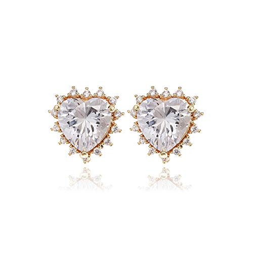 Heart Stud Earrings for Women - 14k Gold Plated Sterling Silver Heart Shape Cubic Zirconia Crystal CZ Halo Studs Fashion Jewelry for Girls Bride Bridesmaids Party Prom Valentine's Day gift ()