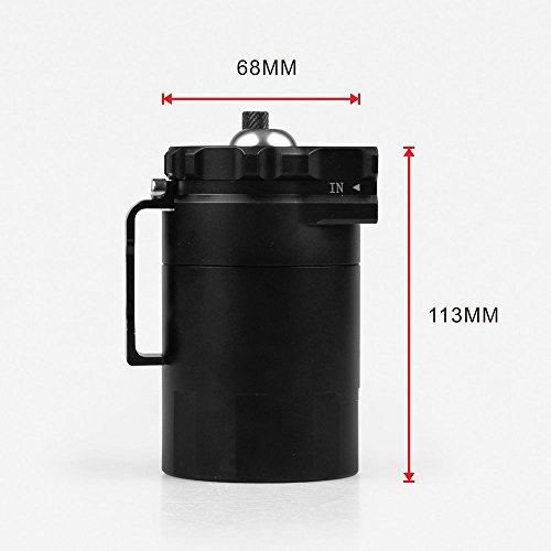 Ruien Aluminum Blaack Oil Catch Can Reservoir Tank Oil Tank Universal With Air Filter And AN6 AN8 Adapters by Ruien (Image #1)