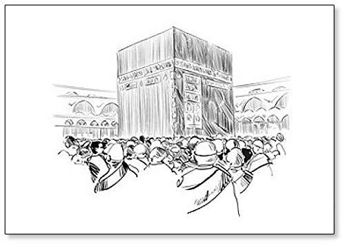 Mecca. Arabia Saudita. Imán para nevera con ilustración de dibujo ...