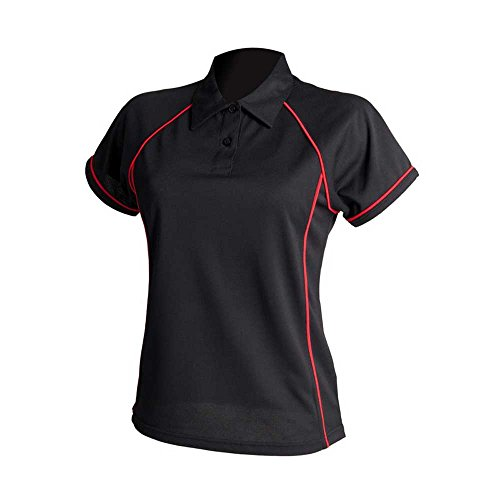 Finden & Hales Womens Piped Polo Shirts Black/Red