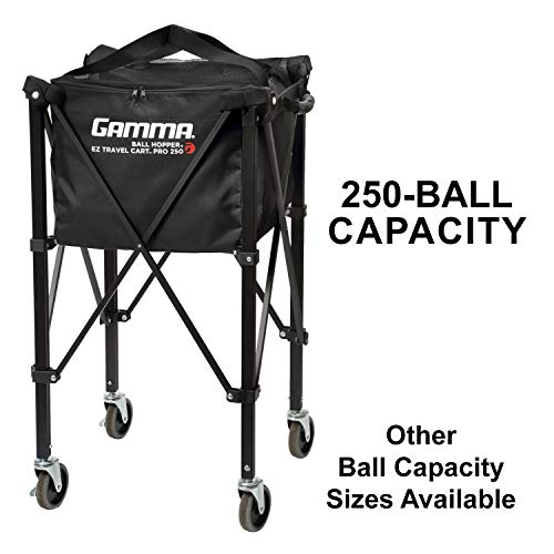 Gamma Sports EZ Travel Cart Pro 250 Ball Hopper, Black ()
