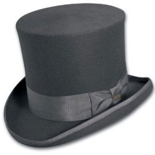 Scala Wool Top Hat (Top Hat Victorian SCALA Tuxedo Mad Hatter 100% Wool GREY MEDIUM)