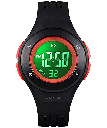 Kids Boys Girls Digital Watches,50M Waterproof Age 5-7 7-10 10-15 with Alarm Stopwatch Wristwatch for Boys Girls(Style 1,Black)