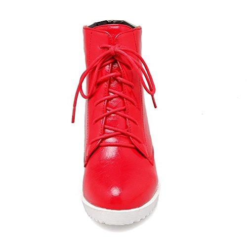 Allhqfashion Donna Tacco A Spillo Tacco Alto Materiale Morbido Stivaletti Alti Colori Assortiti Rosso