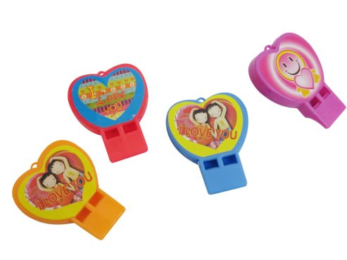 Dazzling Toys Heart Shaped Whistles, Assorted Designs, Set of 24, Perfect Party Favor
