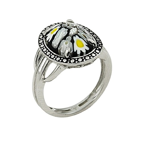 Oval Shape Black Murano Millefiori Glass Ring 925 Sterling Silver Size 6