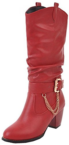Chunky Red Calf Easemax Mid mujer On Pull Mid para Booties Round Heed Martin Toe Moda Cwpxqgwf