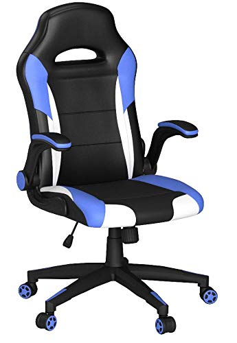 SEATZONE Racing Car Style Bucket Seat Gaming Chair with Flip-Up Armrest (Blue&White) SEATZONE