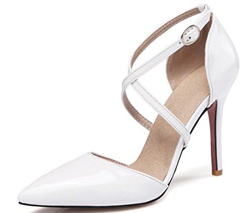 CSDM DONNE grandi stilo a forma di tacco puntato piede scarpe da sposa scarpe da sposa alto tacchi Sandalss giallo bianco rosa nudo nero , white , 37