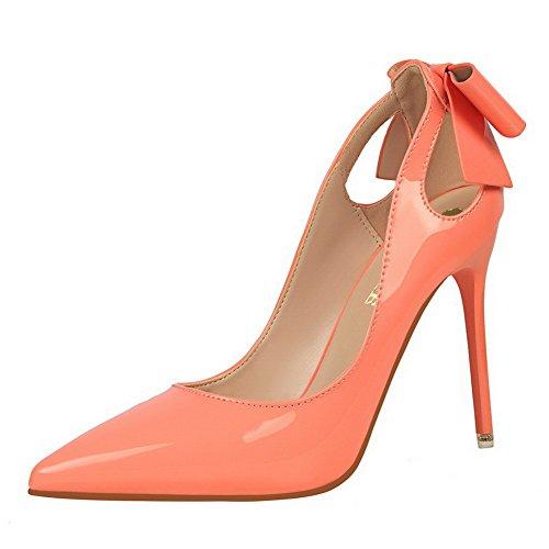 Femme Tire Couleur Cuir Rose Unie Talon Pu Aalardom Légeres À Haut Chaussures Pointu HzwgxqdA