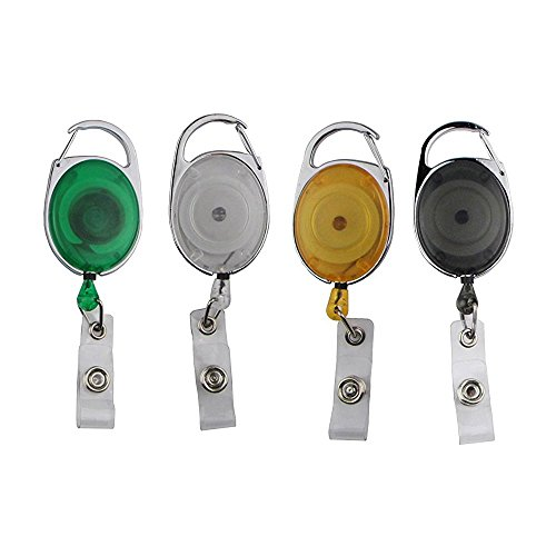 Badgemates Retractable Id Badge Holder - Badge Holder, BadgeMates, Translucent Retractable Carabiner Badge Reel, Assorted Colors, 4 Pack (style 2)