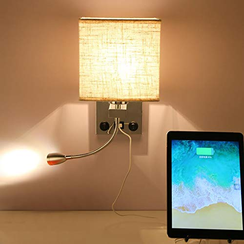 Konesky Home Reading Bedside Wall Lamp, LED Reading Swing Arm Wall Lamp Light, E27 Base Spot Lights 2 Switches with USB Port for Living Room, Bedroom, Corridor