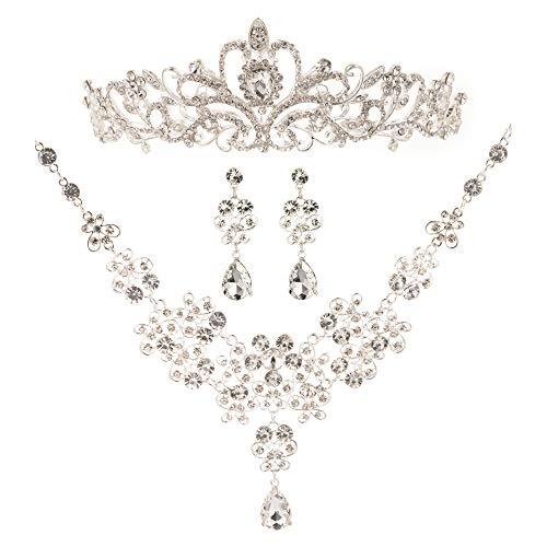 (HapiBuy Bridal Wedding Jewelry Set Necklace Earrings Rhinestone Tiaras Crown)