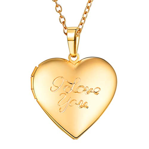 U7 Girls Women Heart-Shaped 18K Gold Plated I Love You Engraved Photo Locket Necklace (Gold)