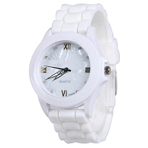 Creazy Women Silicone Rubber Jelly Gel Quartz Casual Sports Wrist Watch (White)
