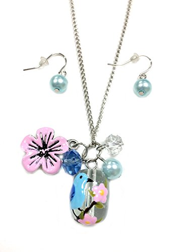 Linpeng Fiona Hand Painted Bird and Flower Glass Bead, Crystal Pearl Beads, Flower Charms Necklace and Earrings Set, Blue Bird/Cherry Blossom Blossom Flower Bead