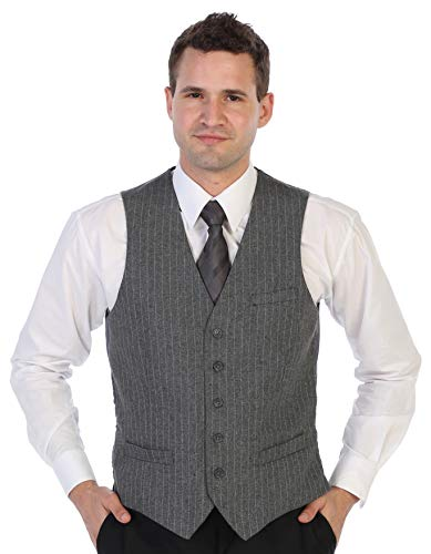 (Gioberti Men's 5 Button Formal Wool Blend Tweed Pin Stripe Vest, Gray, 2X-Large)