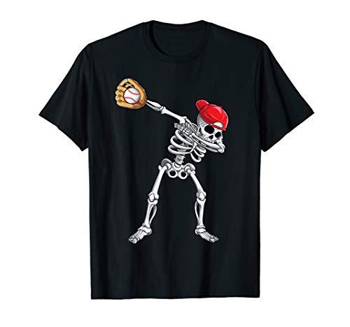 Baseball Girl Halloween (Dabbing Skeleton Baseball T shirt Halloween Boys Kids)