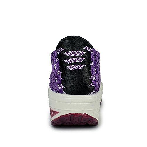 EnllerviiD Women Multicolor Braid Fashion Sneakers Casual Slip-On Platform Weave Shoes 355 Purple 5zZoSZ