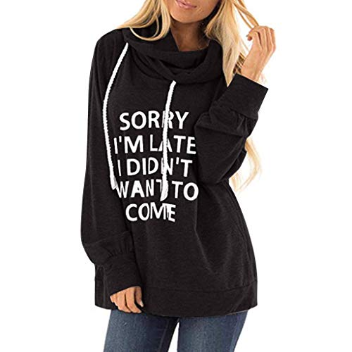 Benficial Womens Casual Hooded Lettle Print Sweatshirt Loose Drawstring Pullover Hoodies New Black