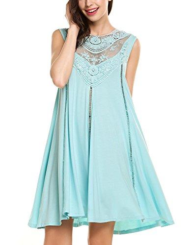 Plunge Damen Strandkleid Sommer Brautjungfernkleid Partykleid Prinzessin Hochzeit Kleid Loose A-Linie mit Spitzen am Kragen Gr.-Small, Blau