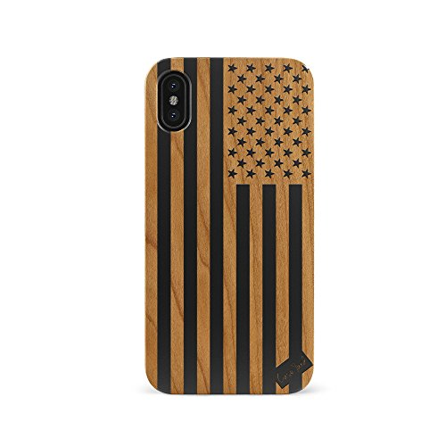 CaseYard iPhone Xs Max Case, Protective, Hybrid, Lightweight, Fashionable iPhone Xs Max Slim Wood Case, Made in California (iPhone Xs Max) (Black) American Flag