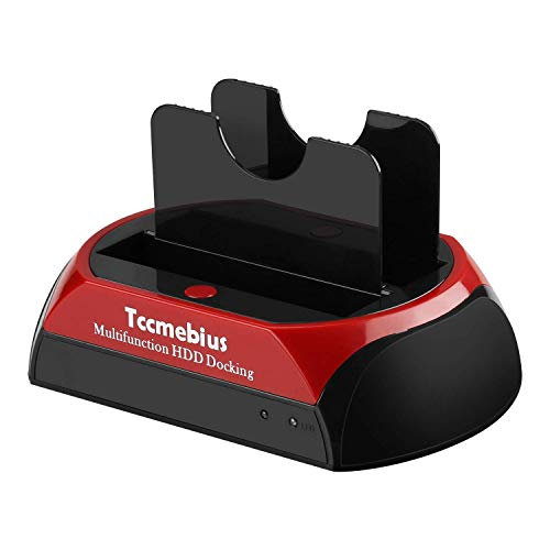 Hard Drive Docking Station, Tccmebius TCC-S867-US USB 2.0 to 2.5 3.5 Inch SATA IDE Dual Slots External HDD Enclosure, for 2.5