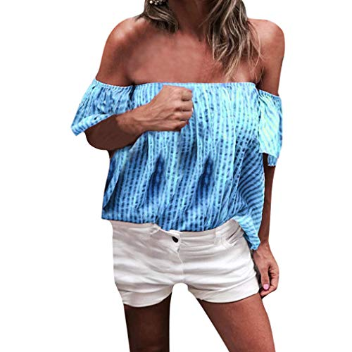 (Sunhusing Summer Women's Sexy Off Shoulder Slash Neck Stripe Print Short Sleeve Comfort Joker Top T-Shirt)