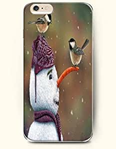 SevenArc Apple iPhone 6 Plus case 5.5 inches - Snowman Playing With Two Bird In The Snow wangjiang maoyi