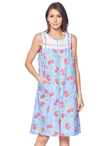 (Casual Nights Women's Zipper Front House Dress Duster Sleeveless Housecoat Lounger Robe, Floral Blue, Large)