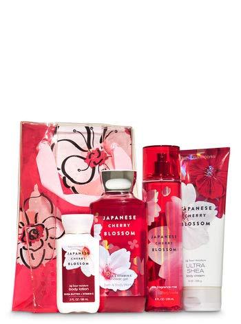 (Bath and Body Work JAPANESE CHERRY BLOSSOM Flower Power Gift Set - Body Cream - Fine Fragrance Mist - Shower Gel & a travel-sized Super Smooth Body Lotion)
